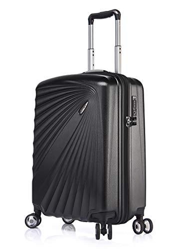 Verage Kinetic Leichter Hartschalen-Koffer Handgepäck (S-55cm-52 Liter, Metallic Schwarz), TSA integriert, 4 Rollen ABS/PC Trolley mit Sicherheits-Reißverschluss