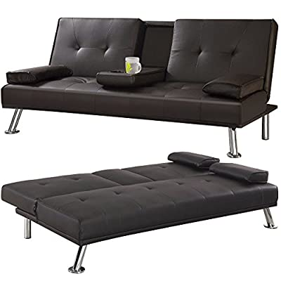 Tinxs Modern Quality Sofa Bed 3 Seat Faux Leather Cupholder Black