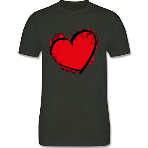 I love - Herz gemalt - Herren Premium T-Shirt Army Grün