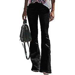 Aleumdr Mujer Vaqueros de Liso Pantalones Cintura Alta Jeans de Campaña con Botón Negro Size M