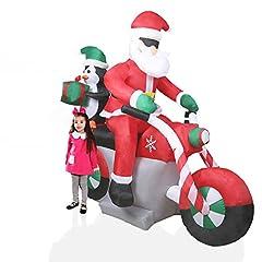Idea Regalo - CCLIFE Illuminato Babbo Natale gonfiabile - Con Illuminazione a LED e Kit Fissaggio, Addobbo e Decorazione Natalizia, Colore:Rosso005