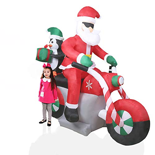 CCLIFE inflable de Papá Noel inchable LED, exterior, iluminación navideña, Color:Rojo005