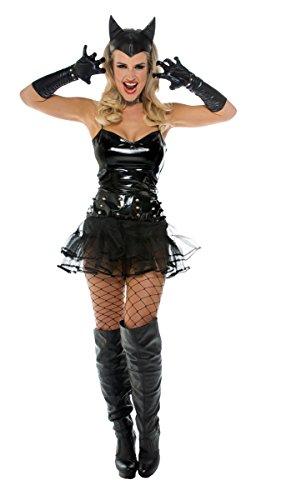 Sexy-Dark-Cat Verkleidung Schwarzes Tutu mit Spikes und Kopfschmuck Kostüm Fasching Karneval Gr. L/XL Katze 3-tlg. ()