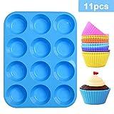 LLNRC Muffinform Silikon,Backform Muffin 12er Mini Backförmchen Antihafteigenschaft Muffinblech mit 12 Stück Wiederverwendbare Muffinförmchen für Cupcakes,Pudding,Kuchen,Blau Muffins Backblech
