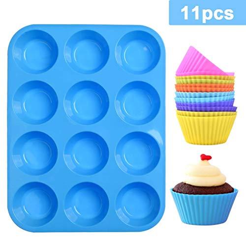 LLNRC Muffinform Silikon,Mini Muffins Backform 12er Muffinpfanne Backblech Backförmchen Antihafteigenschaft mit 12 Stück Wiederverwendbare Muffinförmchen für Cupcakes,Pudding,Kuchen(Blau Muffinblech)