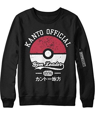 Sweatshirt Pokemon Go Kanto Official Gym Leader 1996 X Y Nintendo Blue Red Yellow Plus Hype Nerd Game C123123 Schwarz XXL (Bandana West Blue)