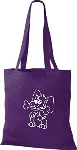 ShirtInStyle Stoffbeutel Hunde Motive Rasse Hund Lustige Tiere Züchter diverse Farbe purple