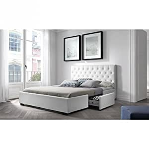g n rique louis structure de lit 140x190 cm sommier 2 tiroirs simili blanc. Black Bedroom Furniture Sets. Home Design Ideas