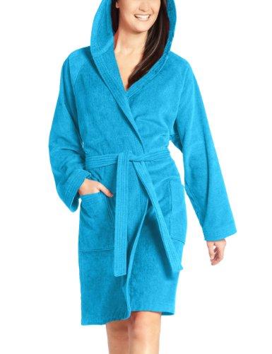 Vossen Damen Bademantel Texas, Einfarbig, Blau (turquoise 557), M (42-48)