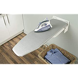 Gedotec Bügelbrett Klappbar Ironfix Premium Bügeltisch-Bezug silberfarben | Klapptisch 180° drehbar | Stahl RAL 9016 | Wand-Bügelbrett für Wandmontage | 1 Set