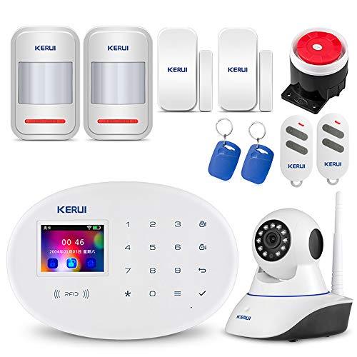 KERUI W20 GSM WiFi 2,4 GHz Sicherheitstechnik Funk Alarmanlage DIY Kit, Auto Dial/SMS/RFID/iOS Android App-Steuerung Push-Benachrichtigungen Intercom mit ÜberwachungsKamera - Deutsch-sprachiges