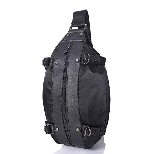 Outreo Reisetasche Herren Brusttasche Umhängetasche Leichtgewicht Tasche Sporttasche Kuriertasche Vintage Schultertasche für Sport Schwarz