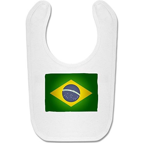 Städte & Länder Baby - Flagge Brasilien - Unisize - Weiß - BZ12 - Baby Lätzchen Baumwolle