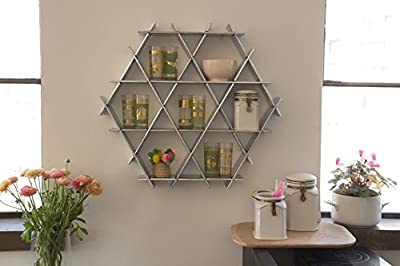 Kitchen Floating Shelves, Hexagon Wall Shelf, Coffee Mug Rack, Display shelving unit - Chrome finish Cardboard Medium Ruche Shelves