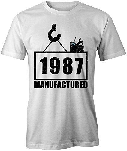 Manufactured 1987 - Rundhals-T-Shirt Männer-Herren - hochwertig bedruckt mit lustigem Spruch - Die perfekte Geschenk-Idee (02) weiss