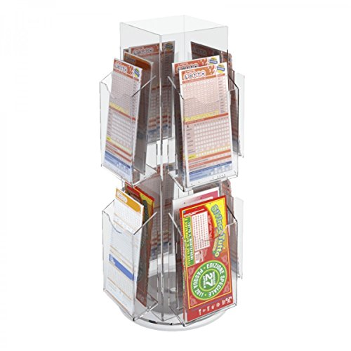 Avà srl Présentoir Jeux de tirage/bulletins de loterie tournant réalisé en Acrylique à 16 Compartiments - Dimensions : 26x 26 x H54 cm