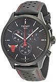 Tissot Chrono XL NBA Chicago Bulls / orologio uomo / quadrante nero / cassa acciaio e PVD nero / cinturino cuoio nero e rosso