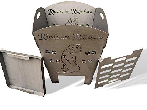 Baßner Holzbau Feuerkorb rostig Motiv Ridgeback aus 3 mm Stahl, edelrost, 50x50x60 cm, 2017-1392-AR