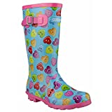 Cotswold Girls Button Heart Patterned Welly Wellington Boot Royal