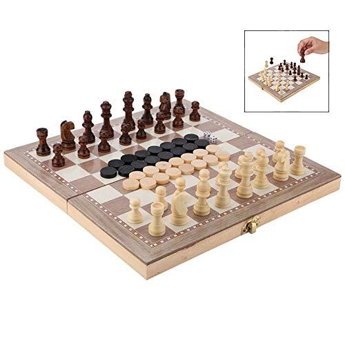 iPobie 3-in-1Schachspiel Set, Schachbrett aus Holz, Faltbarem Schachbrett Perfekt für Erwachsene und Kinder