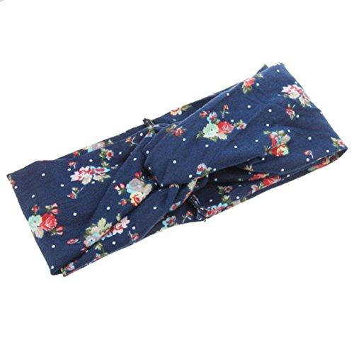 Omiky® Damen Twist Knot Pattern Stirnband elastischen Kopf wickeln Turban Haarband Blume (Marine) (Männer Mit Turban Stirnband)