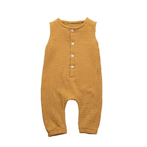 MRURIC Unisex Baby Strampler Babykleidung Sommer Ärmellos Spielanzug Bodys mit Knöpfe für Baby Kleinkind Freizeitkleidung Toddler Overalls Jungen und Mädchen 0-18 Monate