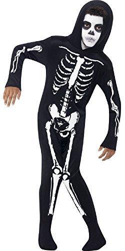 chen Alles in eins Body schwarz weiß Skelett gruselig Gespenstisch unheimlich TV Buch Film Halloween Kostüm 4-9 Jahre - 7-9 Years ()