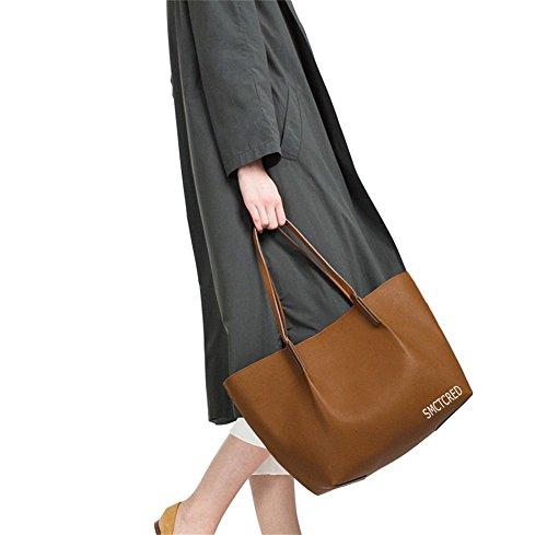SMCTCRED Satchel Cartella borsa della borsa a mano in pelle PU moda vintage autentico antichi modi in pelle di cera olio pelle morbida borsa in stoffa a tracolla in pelle Borse borsa Tablet, iPad Bag (Marrone)