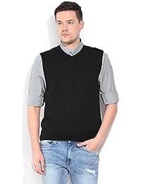 ZAKOD Plain Black Sleeveless Sweater for Winters