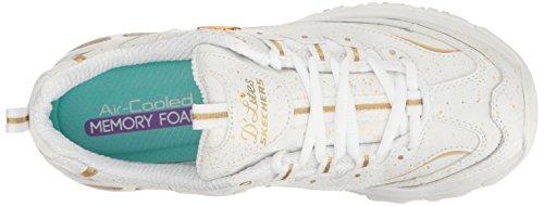 Skechers 11422 BKW D'Lites Extreme, Damen Sneaker White/Gold