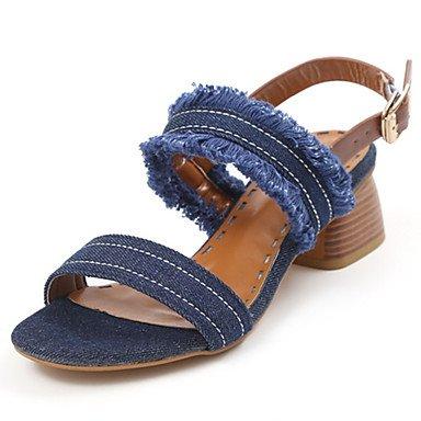 RTRY Donna Sandali Comfort Suole Luce Jeans Abiti Estivi Comfort Suole Luce Fibbia Infiorescenza Staminifera Blocco Tacco Nero Blu 2A-2 3/4In US6 / EU36 / UK4 / CN36