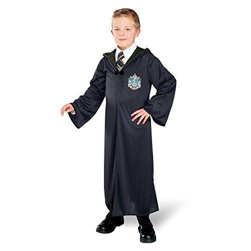 Harry Potter Kostüm - Slytherin Robe / Umhang mit Slytherin Wappen, für Kinder - S (Todesser Robe)