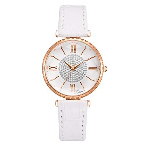 SHE.White Damen Mode Analog Quarz Uhr mit Leder Armband Rom Digital -Zifferblatt Elegant Strass Uhren Klassiker Rund Armbanduhren Damenuhren (Lederarmband Weißes Gitarre)
