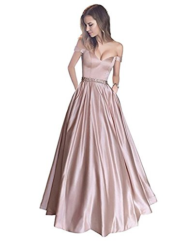 Bainjinbai Lang A-Line Off Shoulder Abendkleider Brautjungfernkleider BallKleider Festkleider Pink UK14