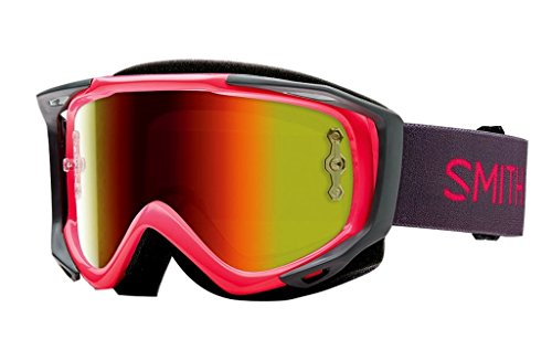SMITH MX Goggle V2 SX pink red mirror +gratis Extra Scheibe: clear