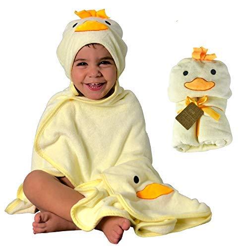 HECKBO® 3D Küken Kapuzen Handtuch + GRATIS Waschlappen | 0-6 Jahre| 2 Druckknöpfe zum Verschließen | 100% Bambus | Größe: 90x100cm | Badehandtuch mit Kapuze für Jungen Mädchen Kinder | Baby Bademantel