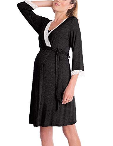 Zhhlaixing Klassisch Schwangerschafts Kleid V-Ausschnitt Spitzenkleid Umstandsmoden 3/4 Sleeve - Damen Casual Stillen Kleid Maternity wear
