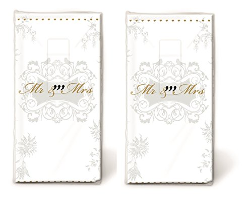 20 Taschentücher (2x 10) Taschentücher Mann und Frau gold / Hochzeit / Freudentränen -