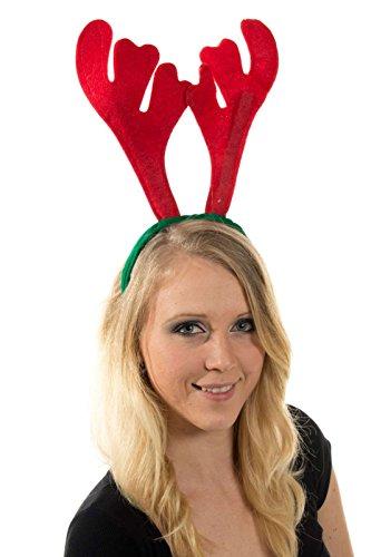 Elchgeweih Rentier Haarreif Weihnachtsmütze Xmas Nikolausmütze Rot Grün Geweih