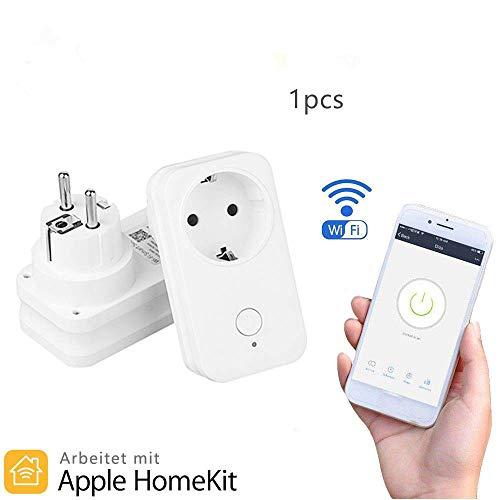 Clever Stecker WiFi-Fernbedienung Steckdosenadapter EU erLeistung Steckdosen APP Stimme Steuerung kein Hub erforderlich Kompatibel für Apfel Homekit Alexa Google Home Amazon Echo (EU)