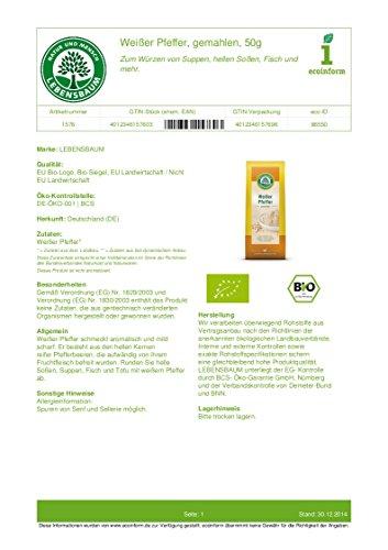 Lebensbaum Bio Weißer Pfeffer, gemahlen (1 x 50 gr)