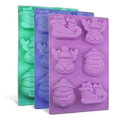Idea Regalo - SENHAI, stampi in silicone con motivi natalizi, per sapone, cioccolatini e cupcake, a forma di pupazzo di neve e renne, con 6 stampi, confezione da 3 pezzi, colori: viola, blu e verde