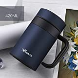 Generic Bule, 420Ml: Thermos Cup Stainless Steel Coffee Mug with Tea Infuser Thermo