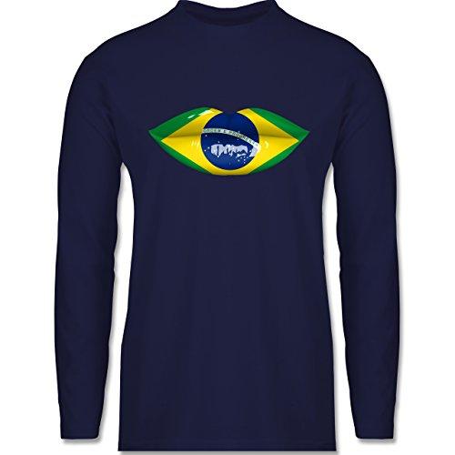 Länder - Lippen Bodypaint Brasilien - Longsleeve / langärmeliges T-Shirt für Herren Navy Blau