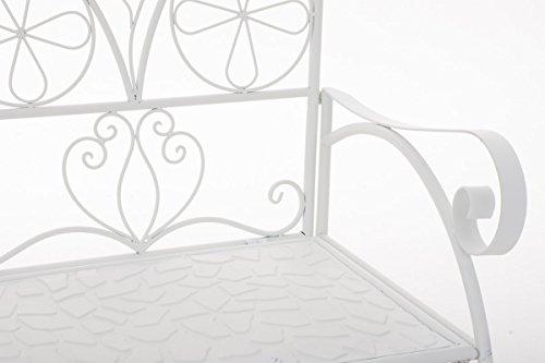 CLP Metall-Gartenbank RIEF, Landhausstil, lackiertes Eisen, ca. 110 x 50 cm, Design nostalgisch antik Weiß - 5