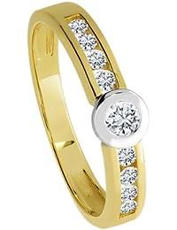 Diamond Line Damen - Ring 585er Gold 9 Diamanten ca. 0,35 ct., gelbgold