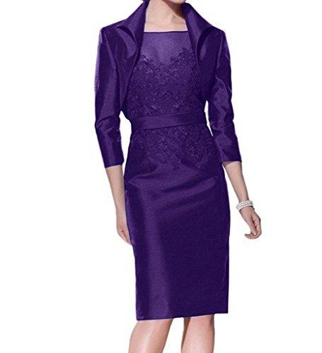Charmant Damen Dunkel Traube Satin Brautmutterkleider Abendkleider Ballkleider Knie-lang Kleider mit Bolero Lila