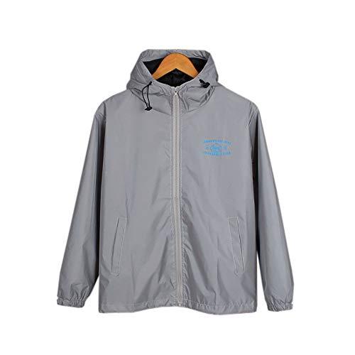 Longjiahaiwei Reflektierender Jacke Herren Print Hooded Waterproof Lightweight Reflective Coat Windbreaker mit Kapuze für Teen und Mann Laufjacke (Color : Gray, Size : M) Hooded Lightweight Coat