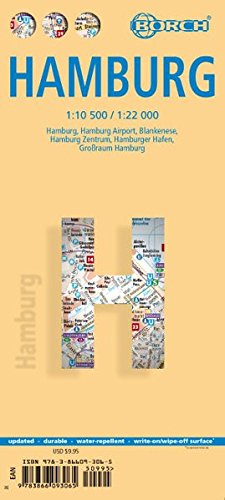 Hamburgo, plano callejero plastificado. Escala 1:10.500 / 1:22.000. Borch.: BB.C458 (Borch Map) por VV.AA.
