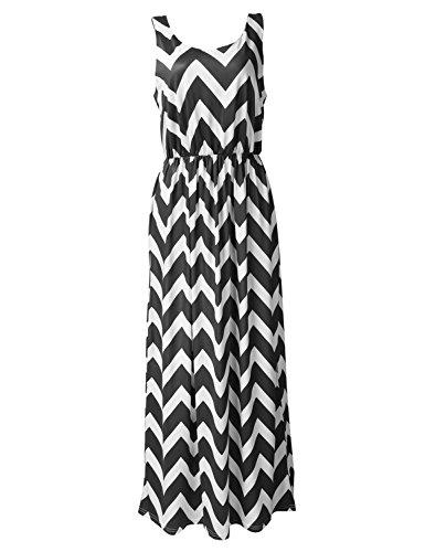 Très Chic Mailanda Sommerkleid Damen Partykleid Lang Chiffon High Waist Striped Sleeveless Beach Kleid Elegant (Medium, Gestreift-Schwarz)